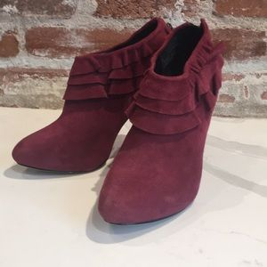Kelsi Dagger dark red high heeled booties